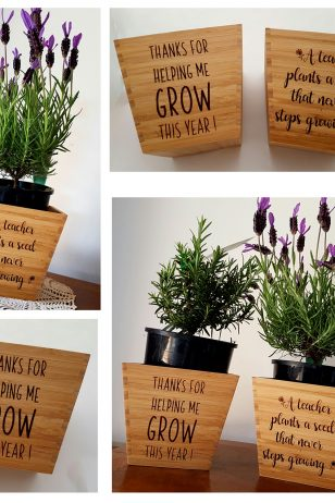 personalised teacher gift bamboo plant pots