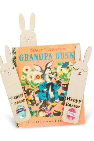 Easter bunny bookmarks wooden