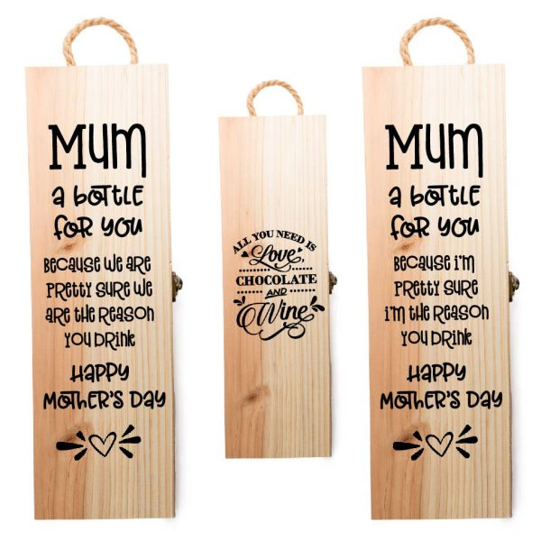 engraved mother's day wine bottle box different styles