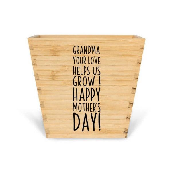 customised bamboo mother's day plant pot grandma mother's day