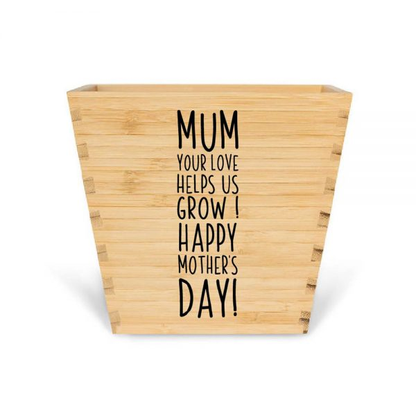 customised bamboo mother's day plant pot mum quote