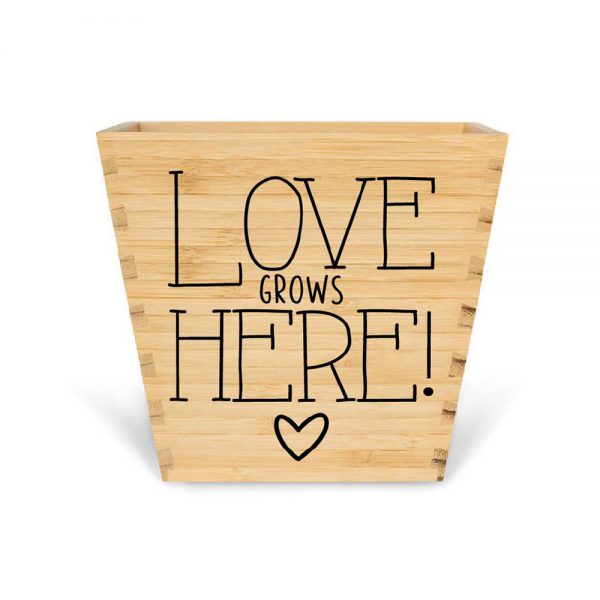 customised bamboo mother's day plant pot love grows here