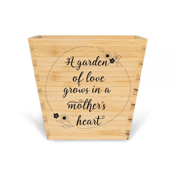 customised bamboo mother's day plant pot mother's heart