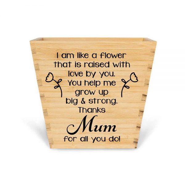 customised bamboo plant pot thank you mum