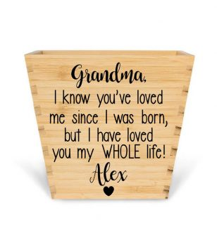 Customised Bamboo Plant pot personalised bamboo plant pot grandma loves you