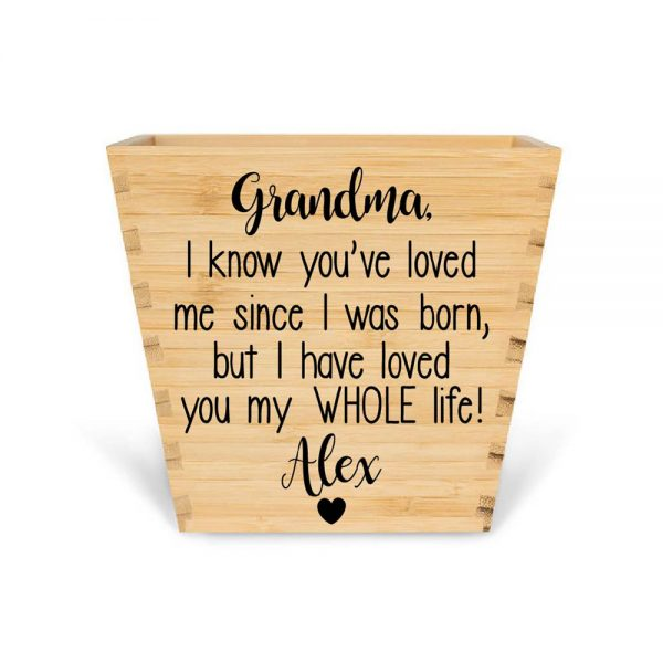 Customised Bamboo Mothers Day Plant pot personalised bamboo plant pot grandma loves you