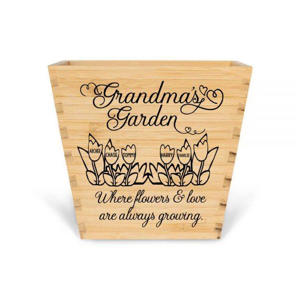 Customised Bamboo Plant pot personalised bamboo plant pot Grandmas garden