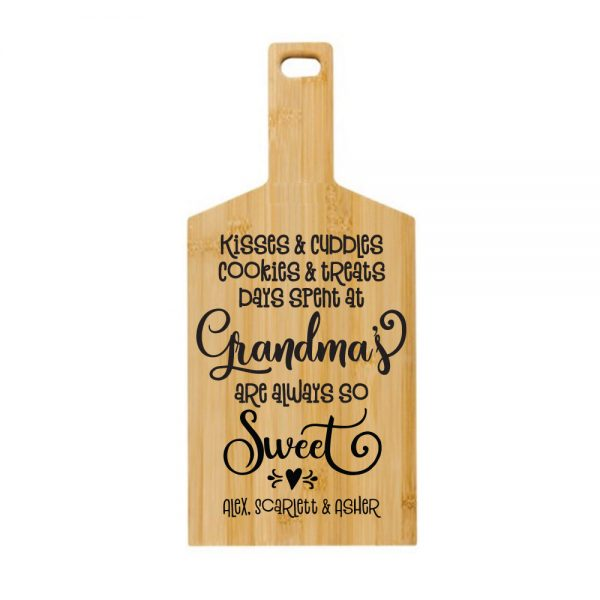Engraved Bamboo Paddle Board Kisses and Cuddles