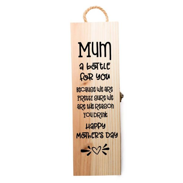 Engraved wine box with quote for mother's day