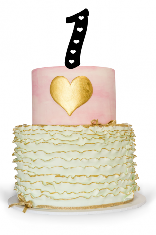Number One Cake Topper with heart for 1st Birthday Cake
