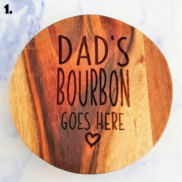 Dad's Bourbon Customised Wooden Coasters