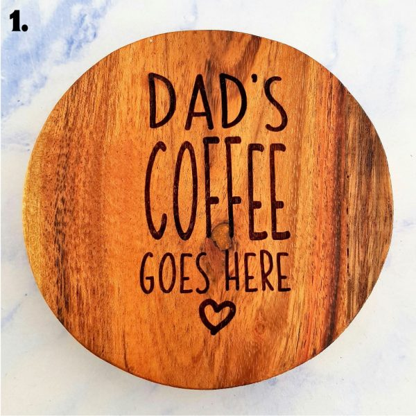 Dad's Coffee Customised Wooden Coasters