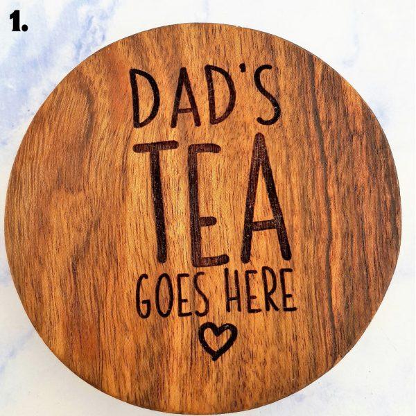 Dad's Tea Customised Wooden Coasters