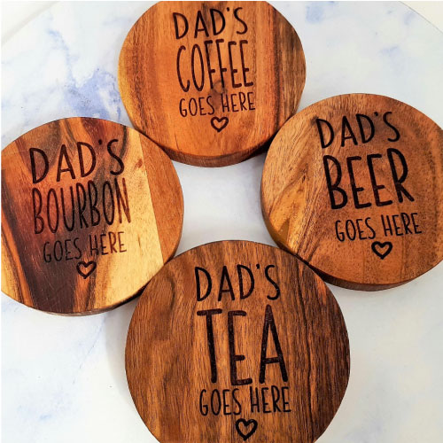 Mixed Customised Personalised Father's Day Wooden Coasters