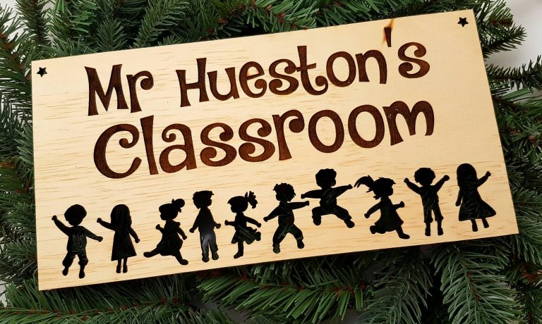 Plywood classroom sign