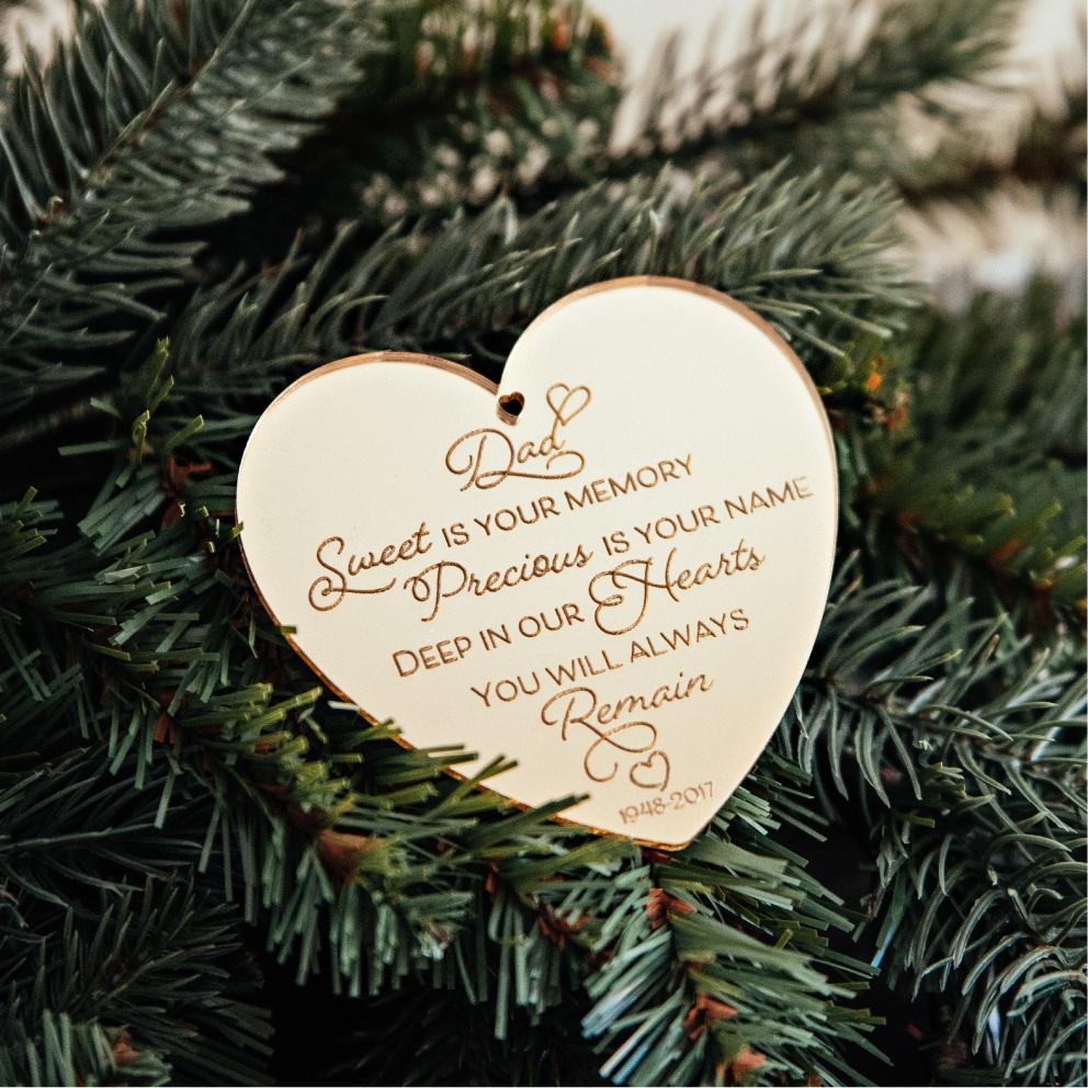Memorial Christmas Ornaments | Heart | Angel | Cross |