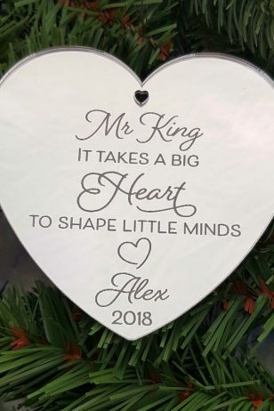 Personalised Teacher Gift Christmas Ornament with Quote