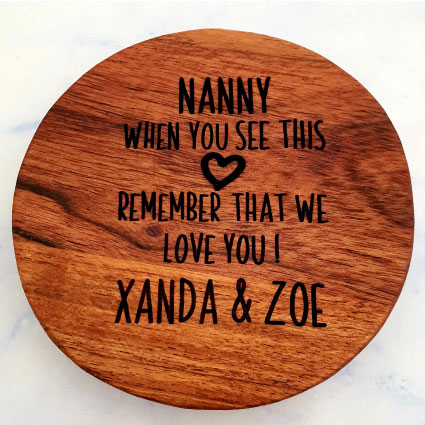 Customised wooden coaster Nanny