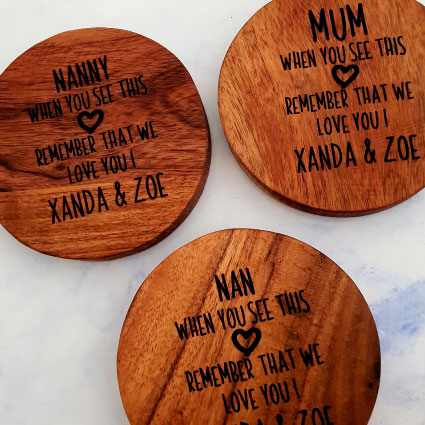 Customised wooden mother's day coasters mix