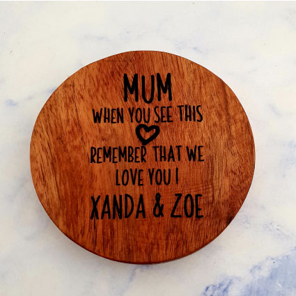 Customised wooden coaster mum