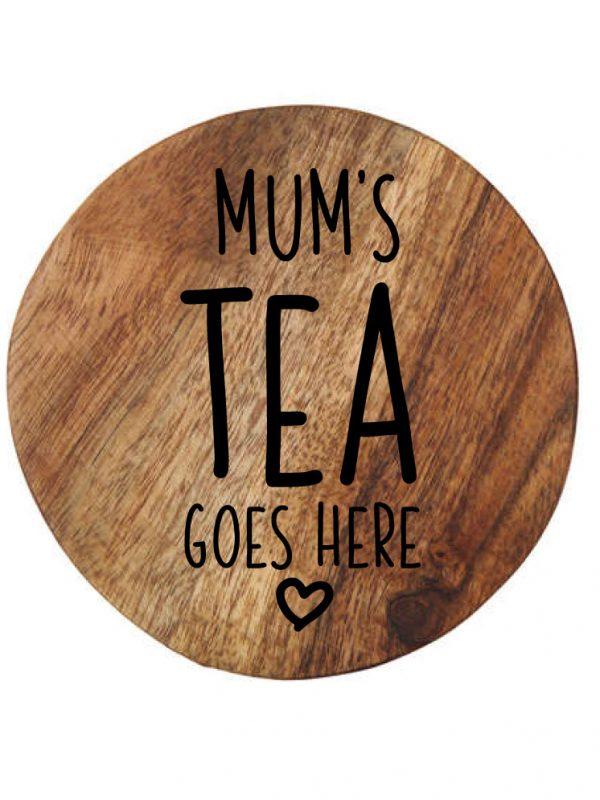 Customised wooden coaster mum's tea