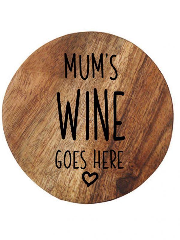 Customised wooden coaster mum's wine