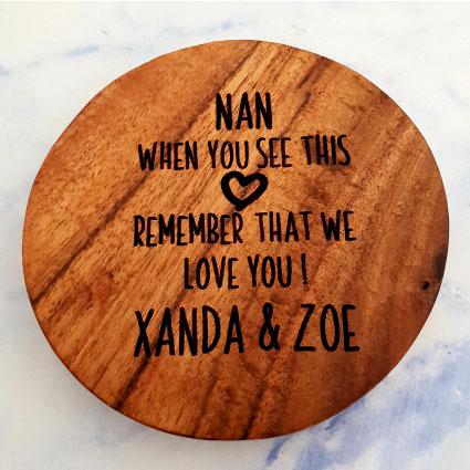 Customised wooden coaster Nan