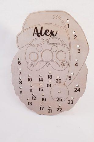 Personalised Wooden Advent Calendar Santa