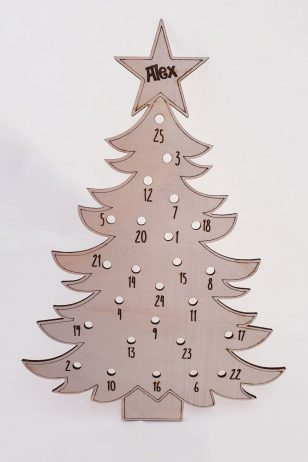 Personalised Wooden Advent Calendar for Christmas