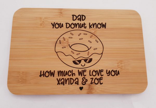 Personalised Father's Day Gift Treat Boards Donut